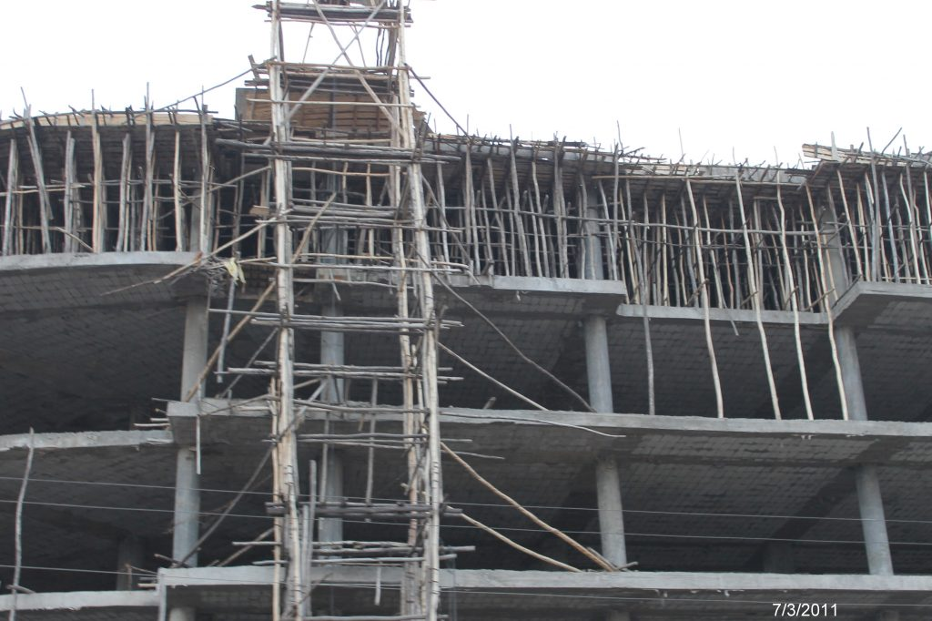 Scaffolding in a country that is being rebuilt. Ethiopia
